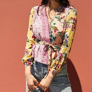 ANTHROPOLOGIE Floral Patchwork Wrap Blouse